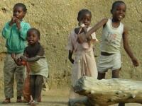 Picture of Children in Ga'anda Celebrating During Songs Presetation